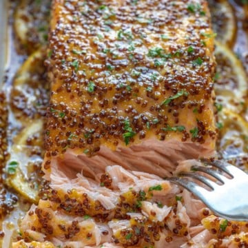 close up baked salmon with fork flaking it