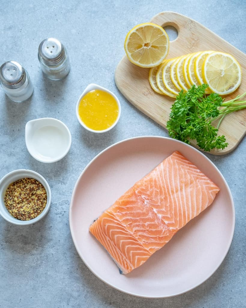 ingredients for baked mustard salmon