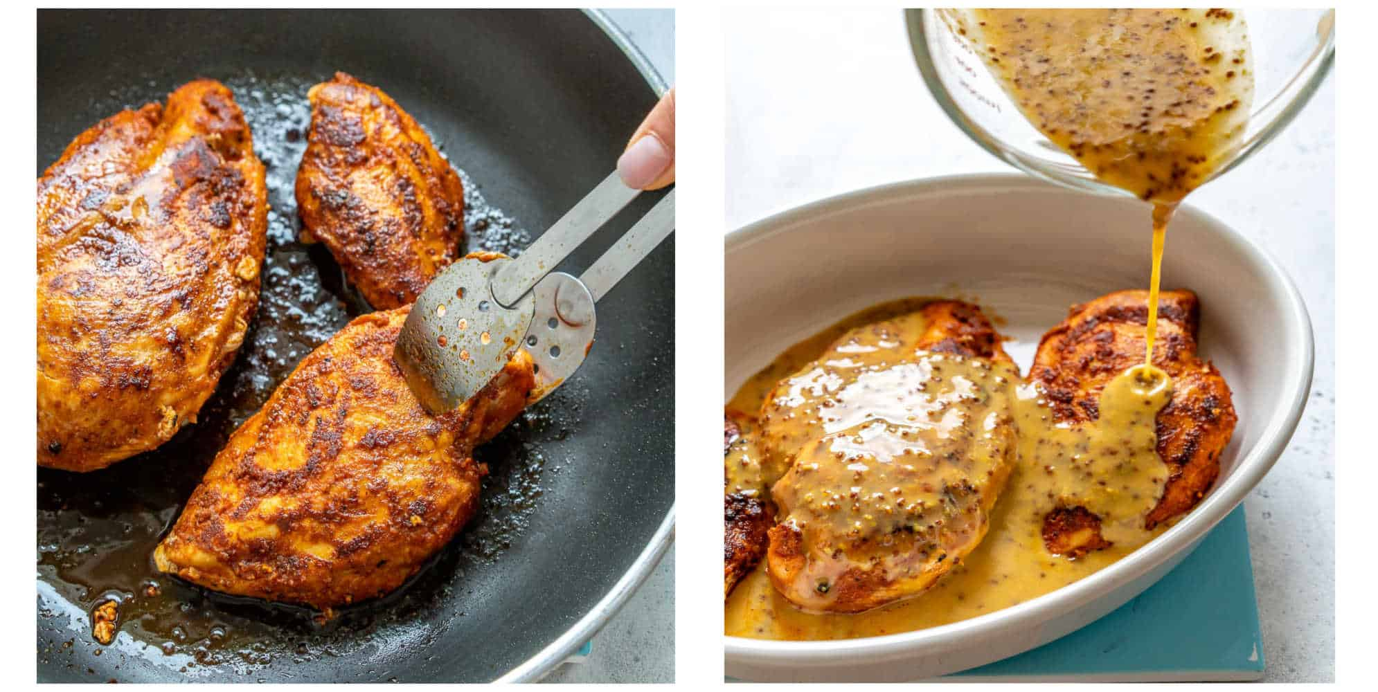collage of chicken breast cooked in pan on the left and mustard marinade being poured on chicken on the right