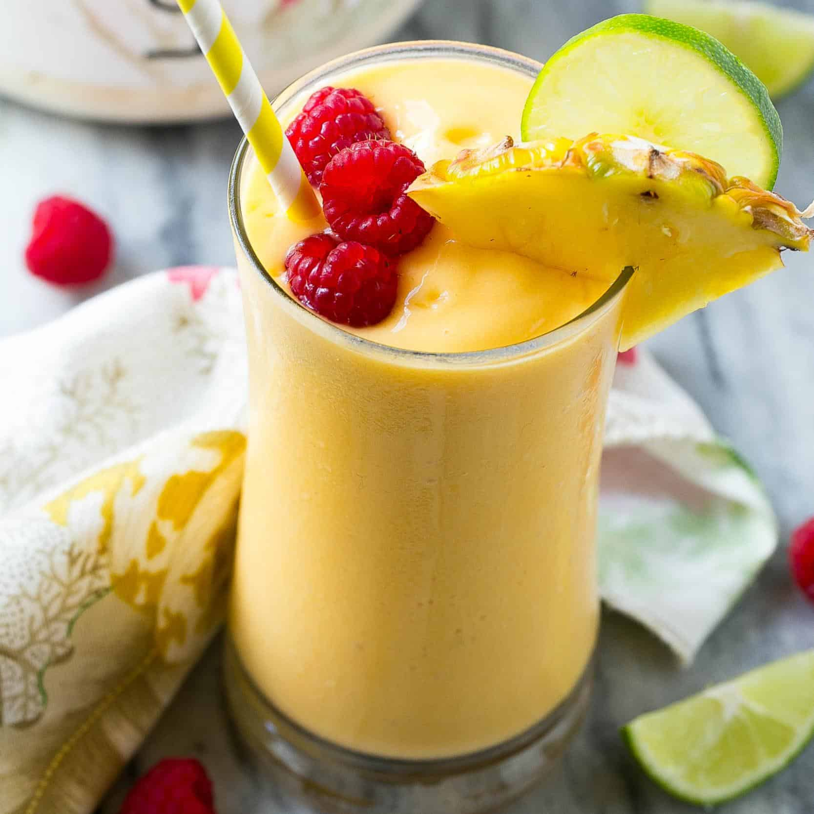 protein tropical smoothie in a clear cup