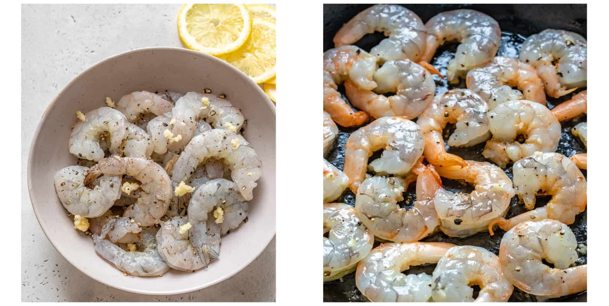 collage of raw shrimp on the left and raw shrimp on skillet