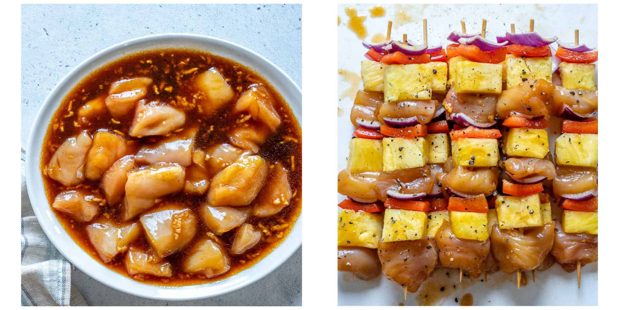 collage of marinated chicken in a bowl on the left and chicken skewers on the right