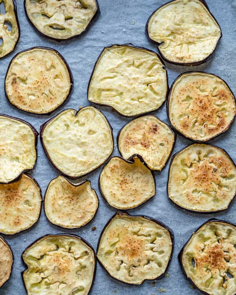baked eggplant slices on sheet pan
