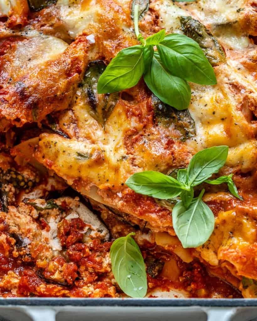 close up eggplant lasagna