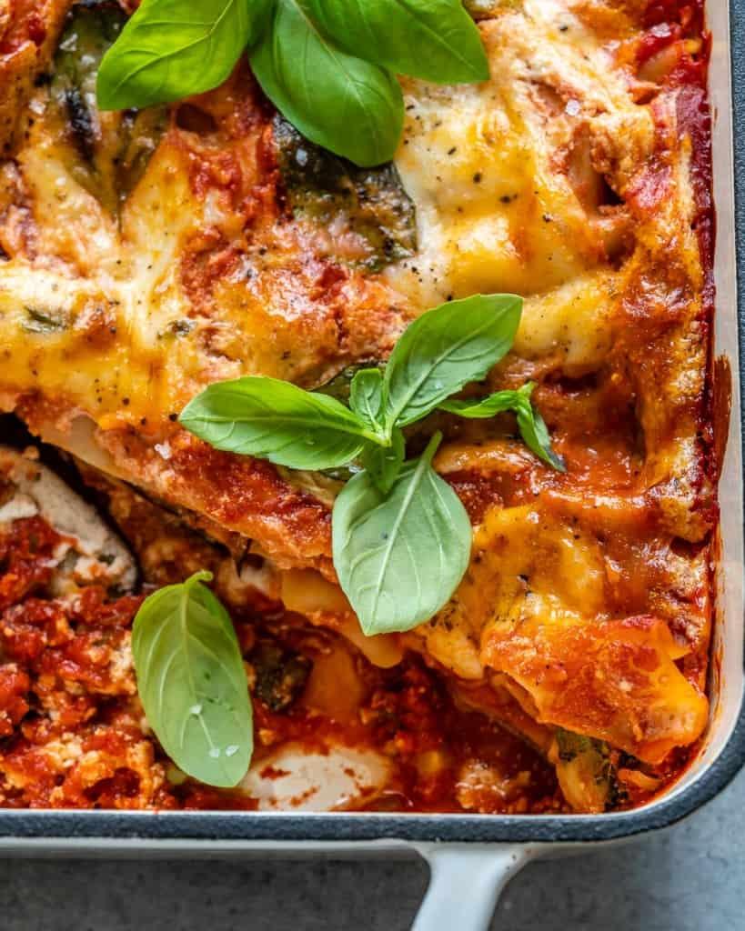 vegetarian lasagna with basil garnishes