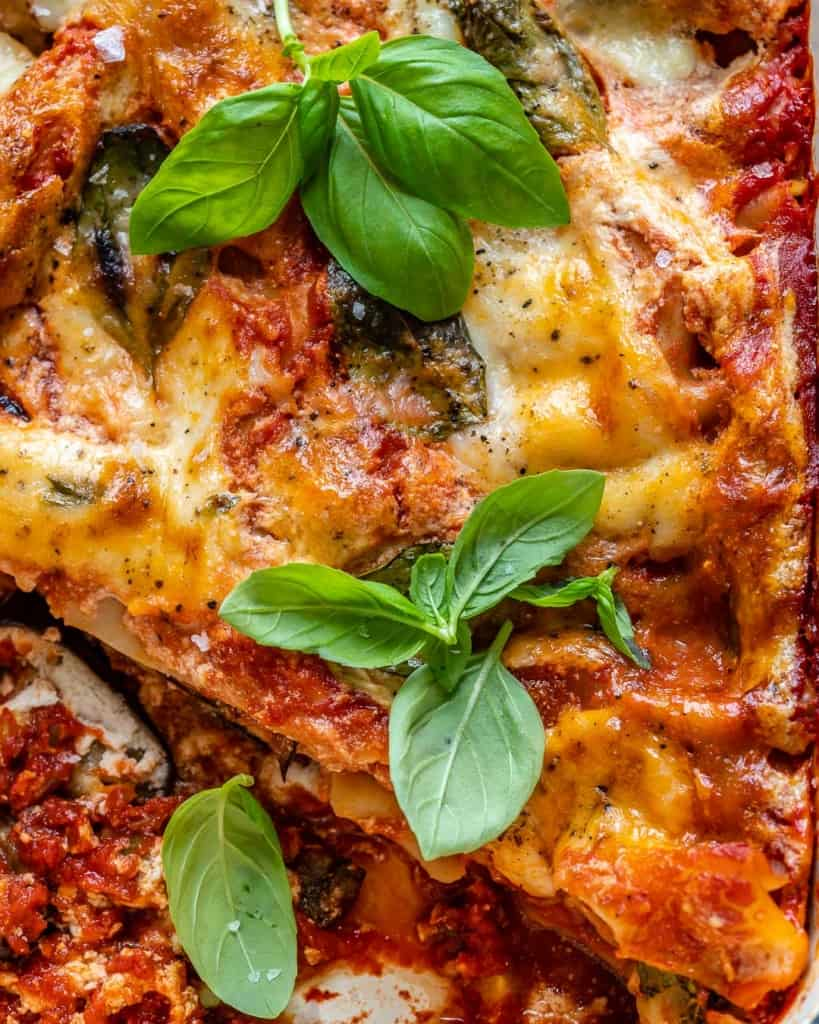 close up of bakes eggplant lasagna