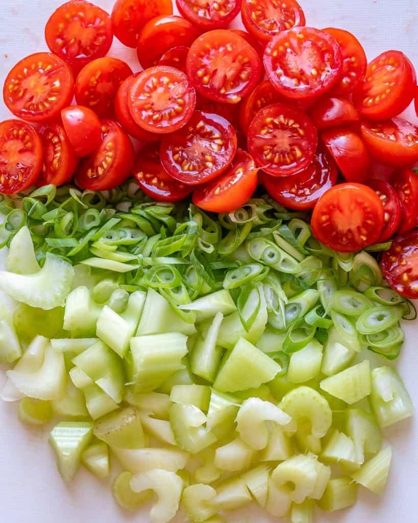 chopped veggies.