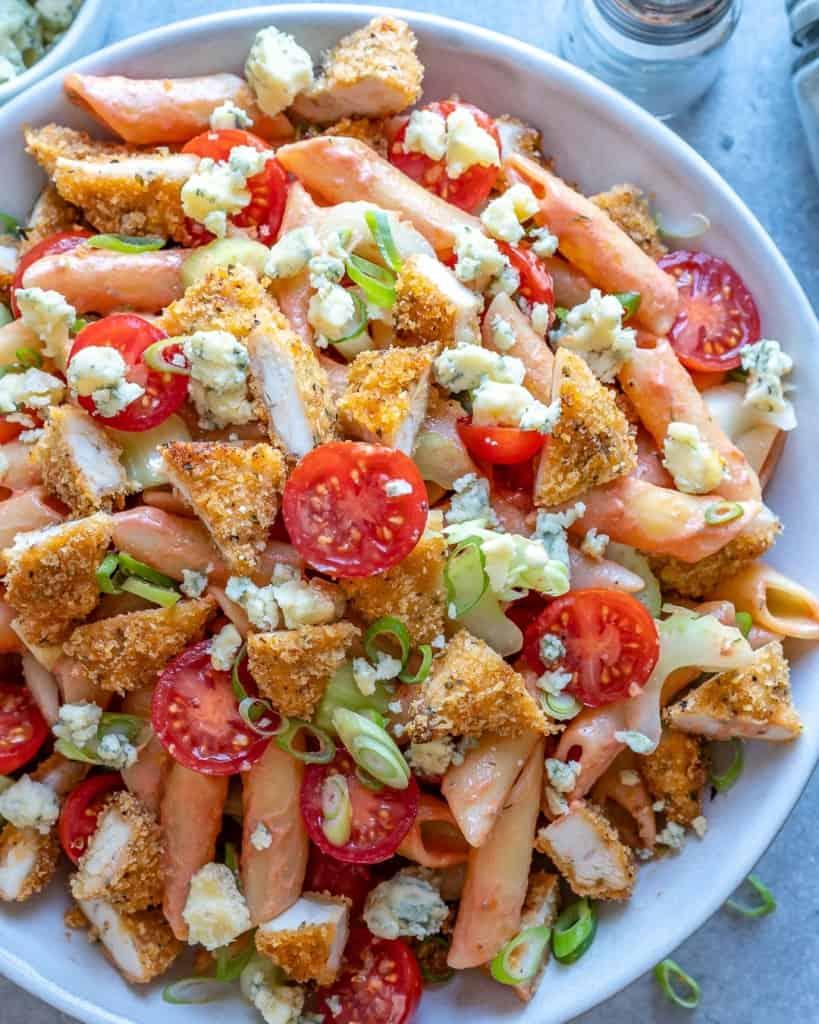 overhead shot of Buffalo Chicken Pasta Salad on a plate.