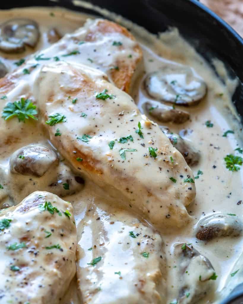 close up creamy chicken recipe in skillet