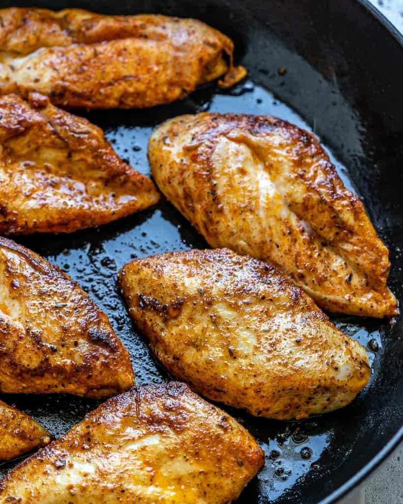chicken in a skillet.
