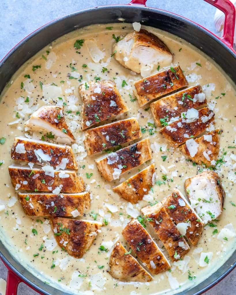 sliced chicken breast in creamy sauce