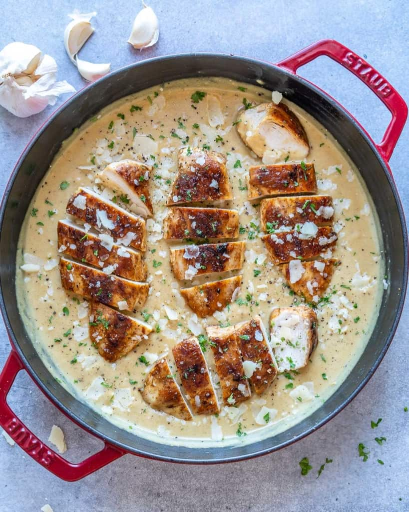 top view of creamy chicken skillet