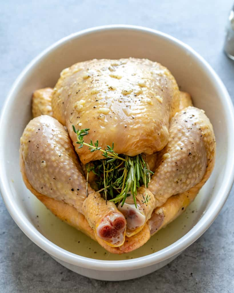 chicken prepped and ready to bake