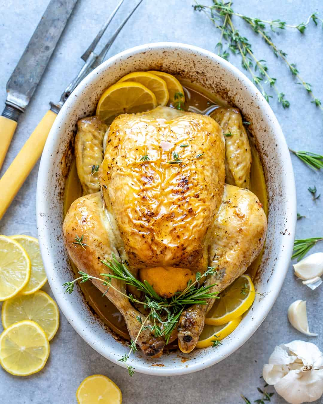 roasted chicken in a white bowl