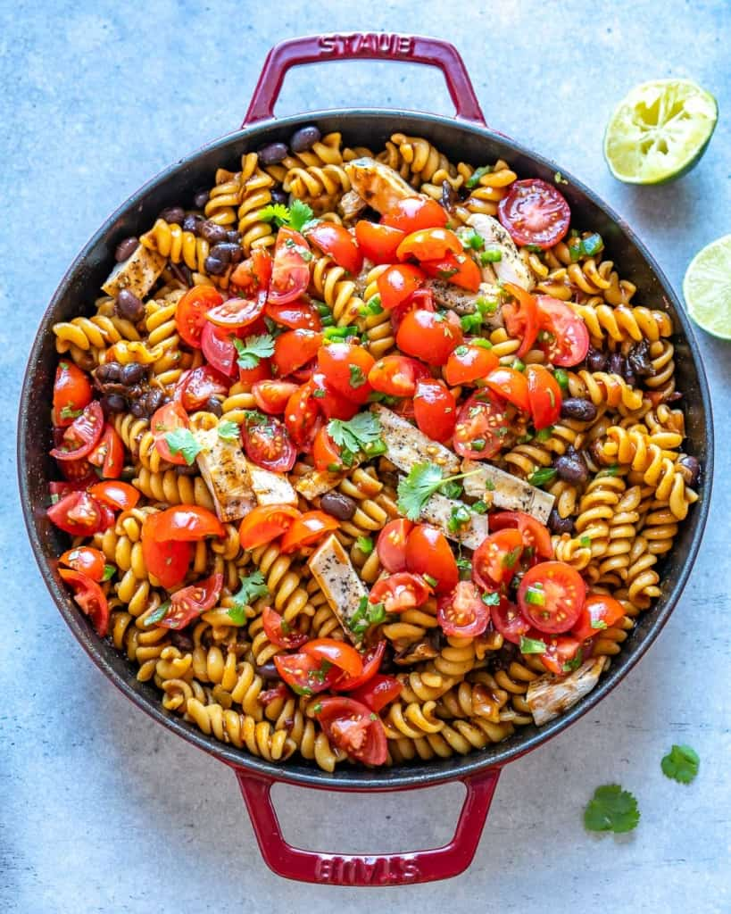 top view of mexican pasta in red pan