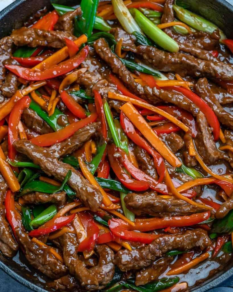top down shot of Mongolian Beef Stir Fry.