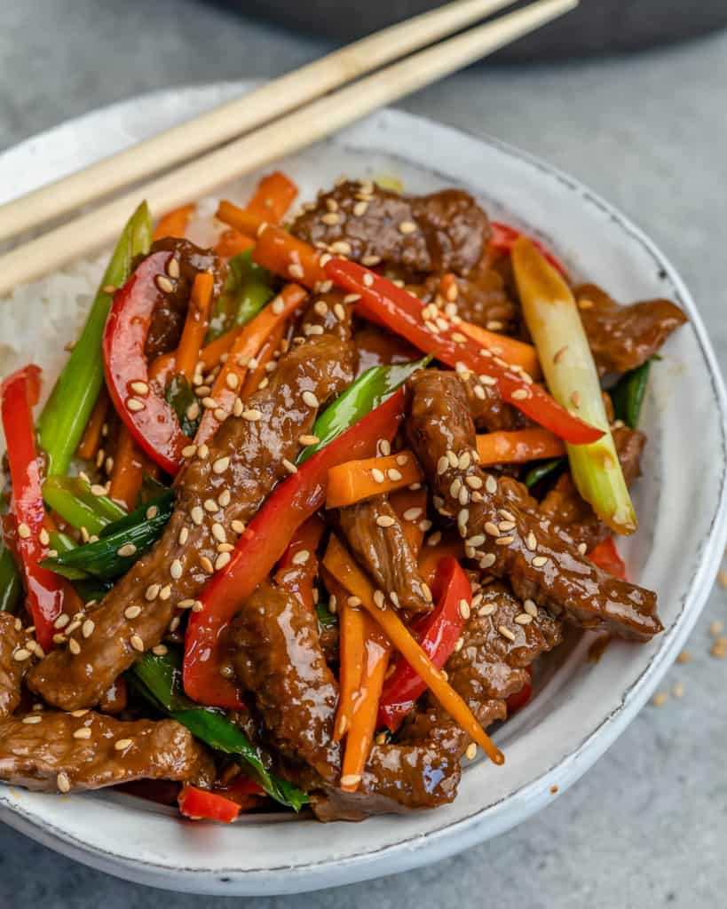 Mongolian Beef Stir Fry on a dish