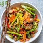 veggie stir fry in white bowl
