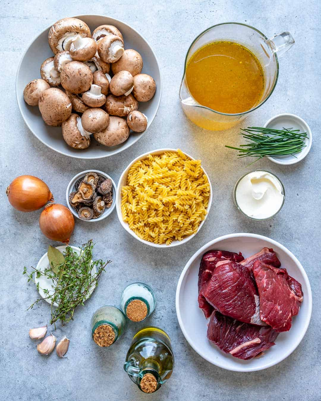 Ingredients for beef stroganoff soup on counter