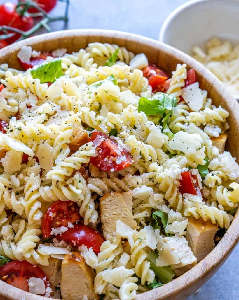 side view of chicken pasta salad