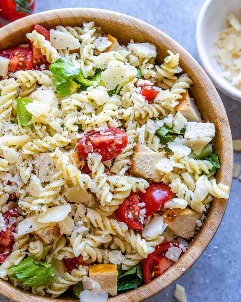 top view of chicken pasta salad in a bowl