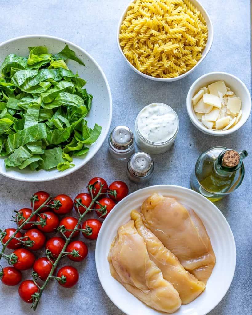 ingredients to make the chicken pasta salad