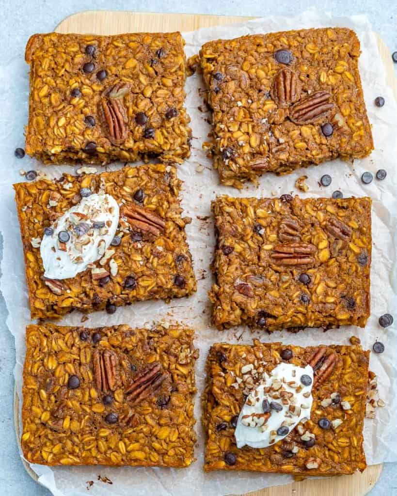 top view of 6 pieces pumpkin oatmeal baked sqaures