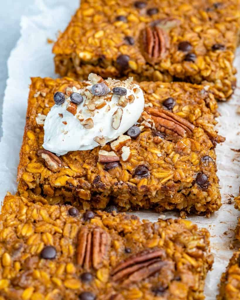 side view of oatmeal baked square bars