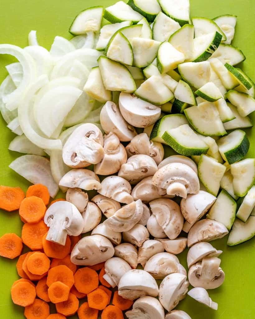 sliced veggies on a platter