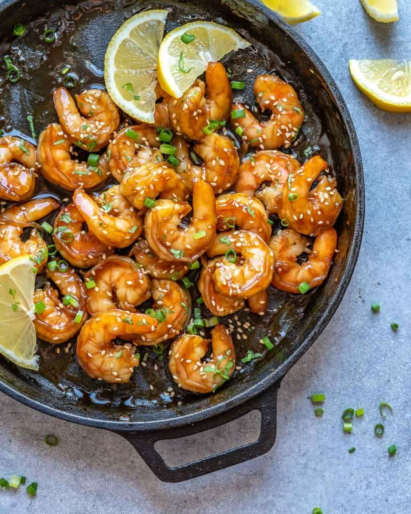 honey garlic shrimp in skillet