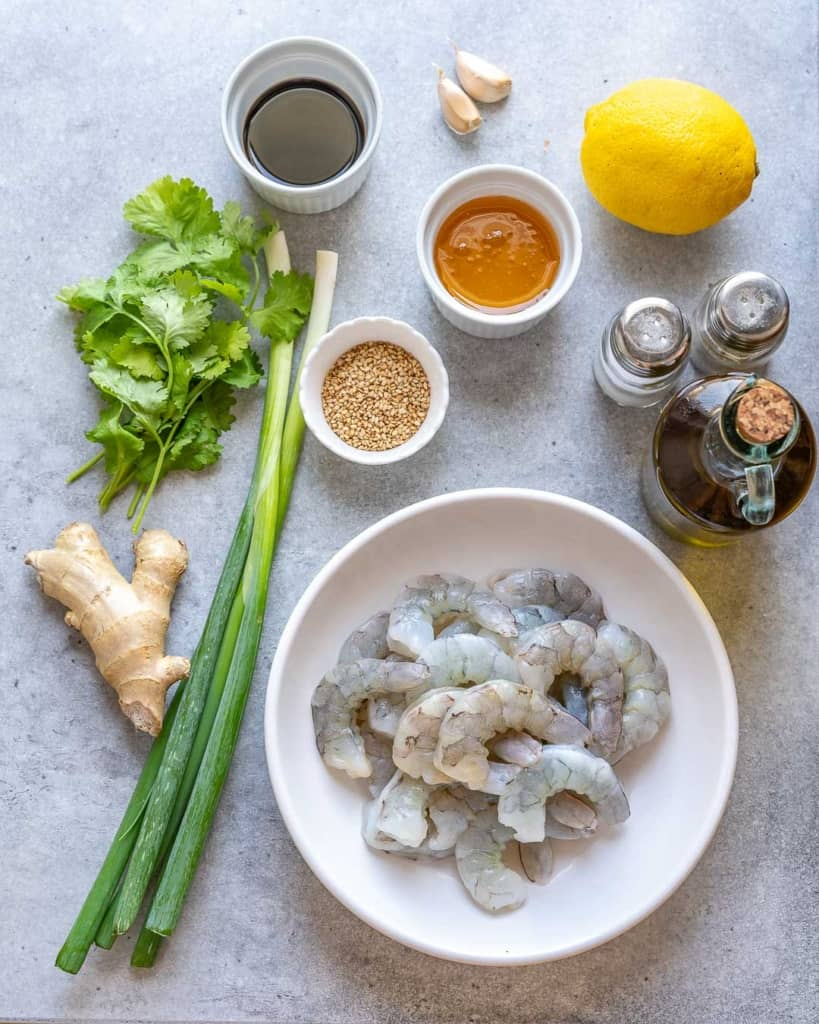 ingredients to make the honey garlic shrimp