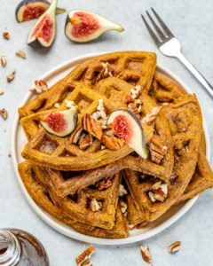 top view of pumpkin waffles topped with fresh figs