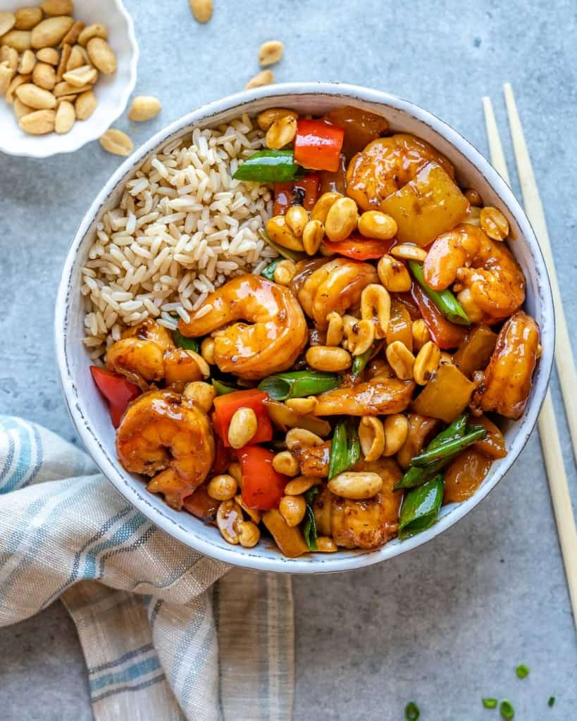 Shrimp and vegetables in bowl with rice