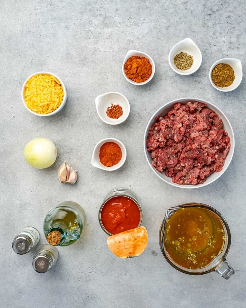 Top down view of ingredients for the keto chili recipe.