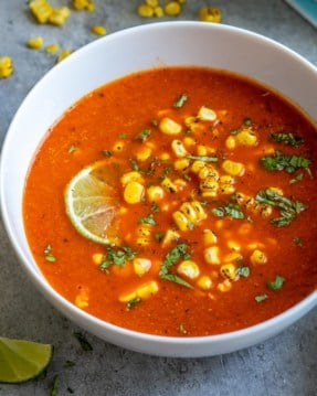 one bowl of Mexican sweet corn soup