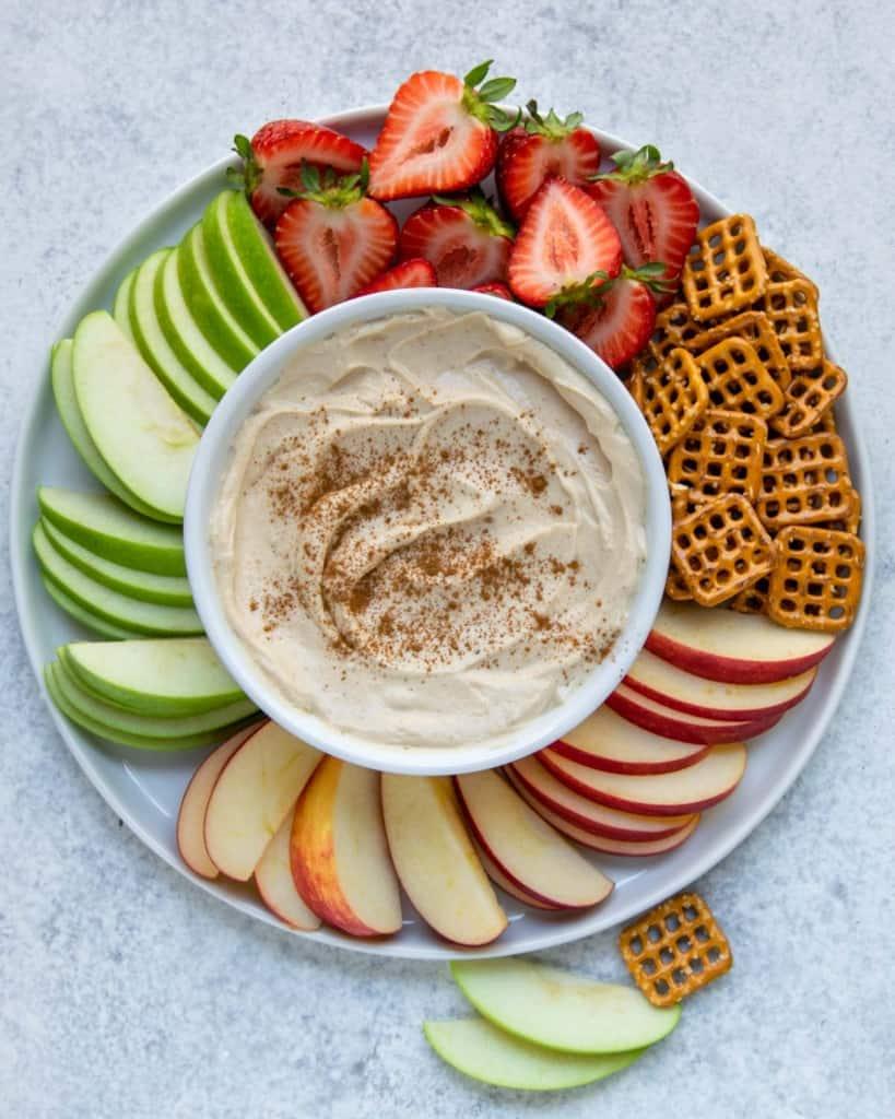top view yogurt dip with fruits