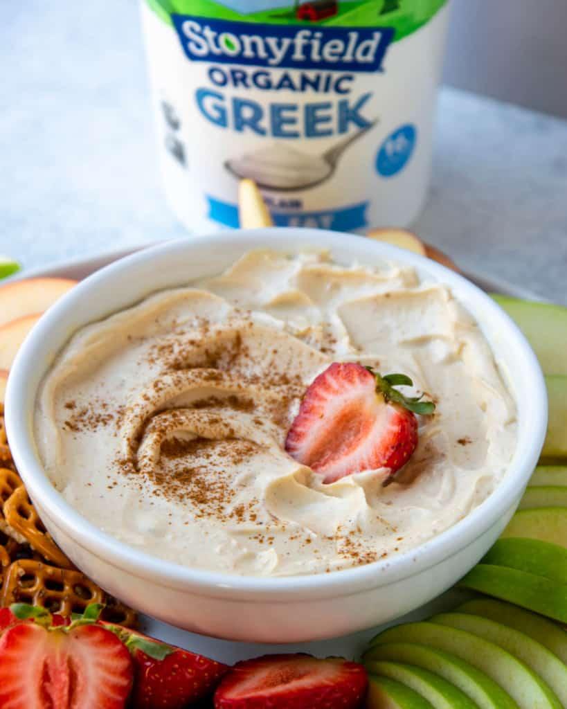side view of yogurt dip with jar of stoney field greek yogurt