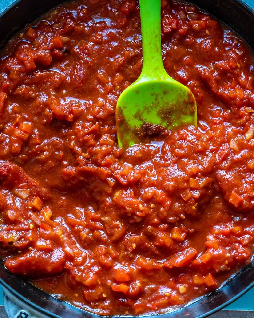 Tomato sauce simmering in pan