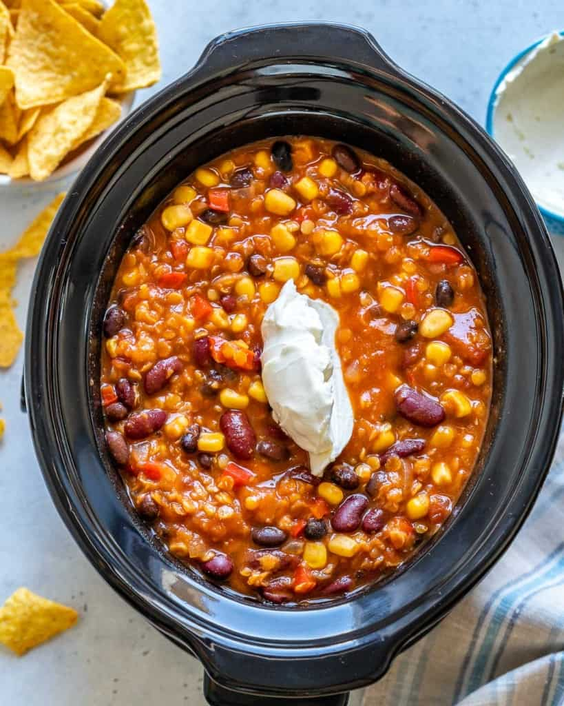 cream cheese added over the cooked tortilla soup in crockpot
