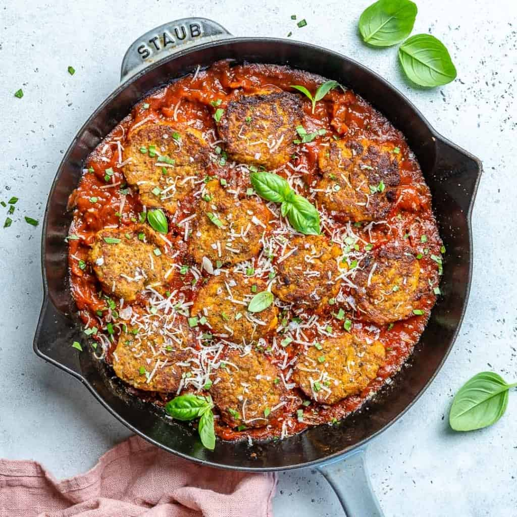 Vegetarian Meatballs in a black skillet.