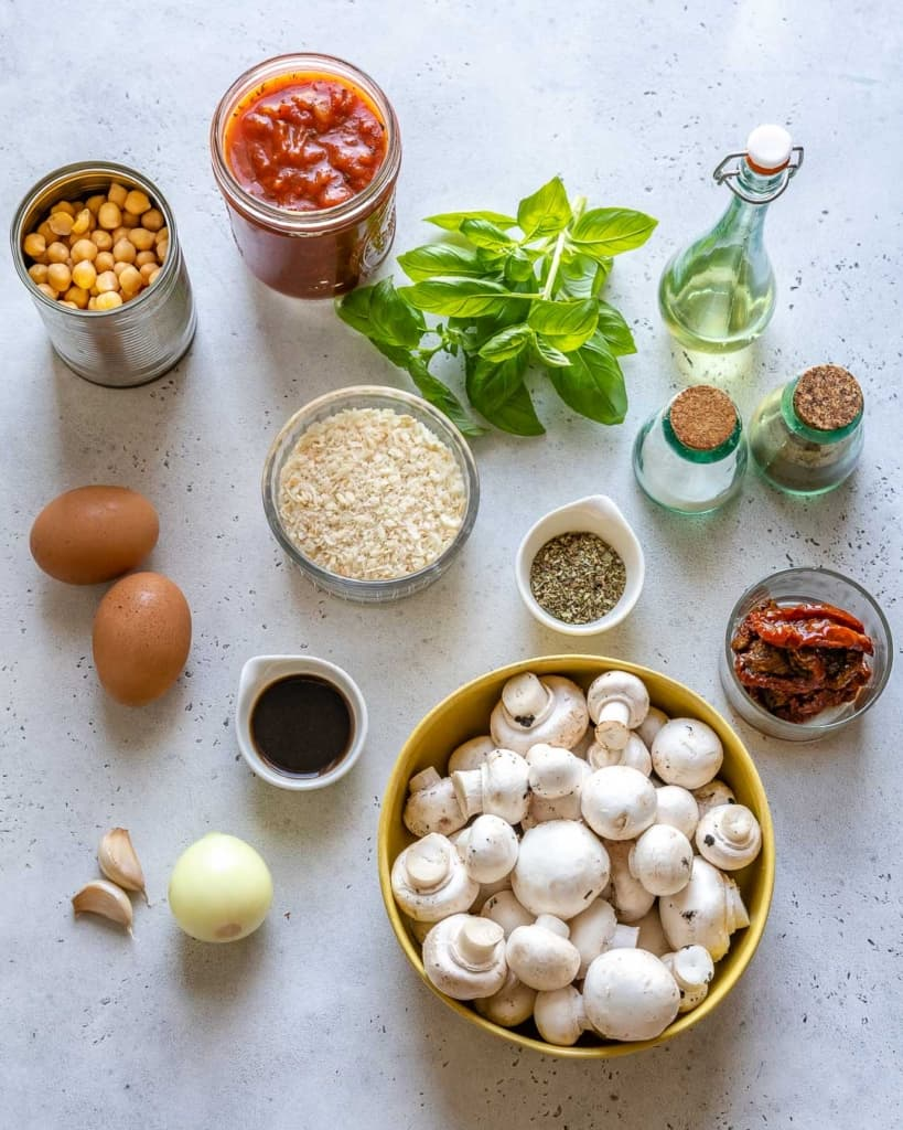 Ingredients for Vegetarian Meatballs.