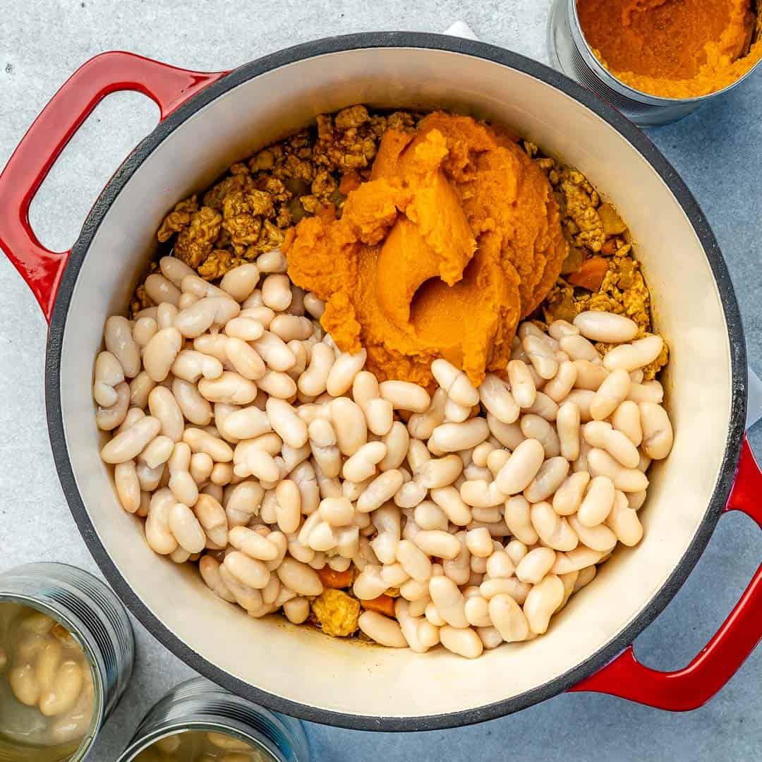 White beans, pumpkin puree, and ground turkey added to chili pot