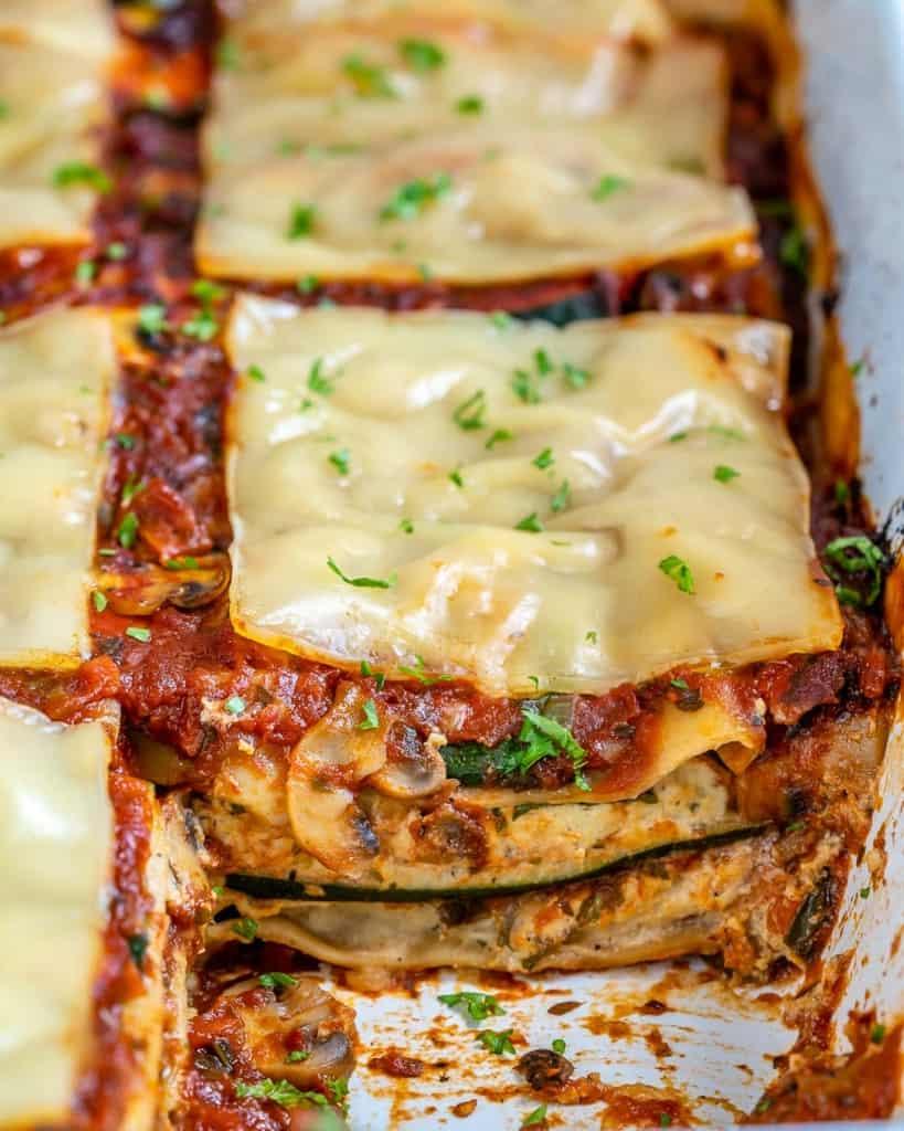Sliced Vegan Lasagna with Zucchini in baking dish