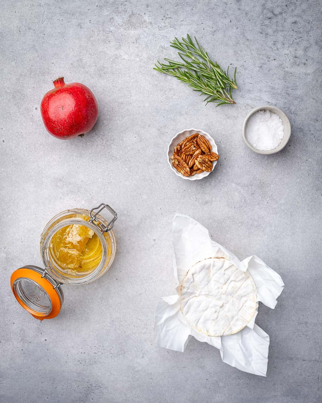 Ingredients for baked brie on counter