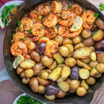 shrimp and potatoes in skillet