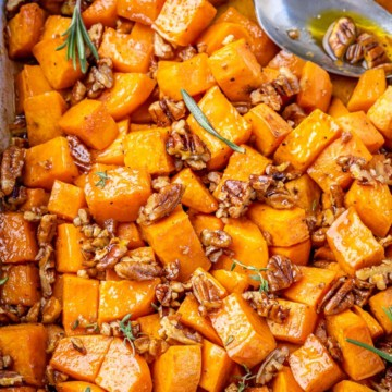 Top down view of roast sweet potatoes.