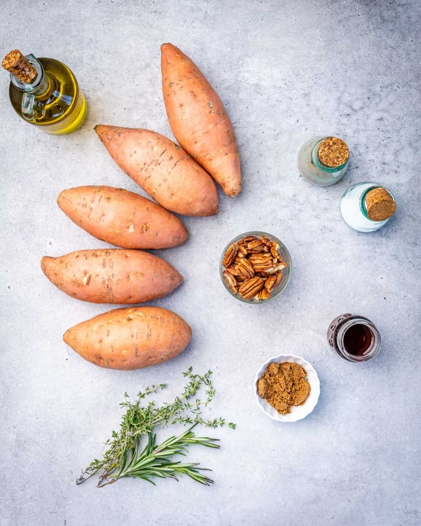 Ingredients for maple roasted sweet potatoes.