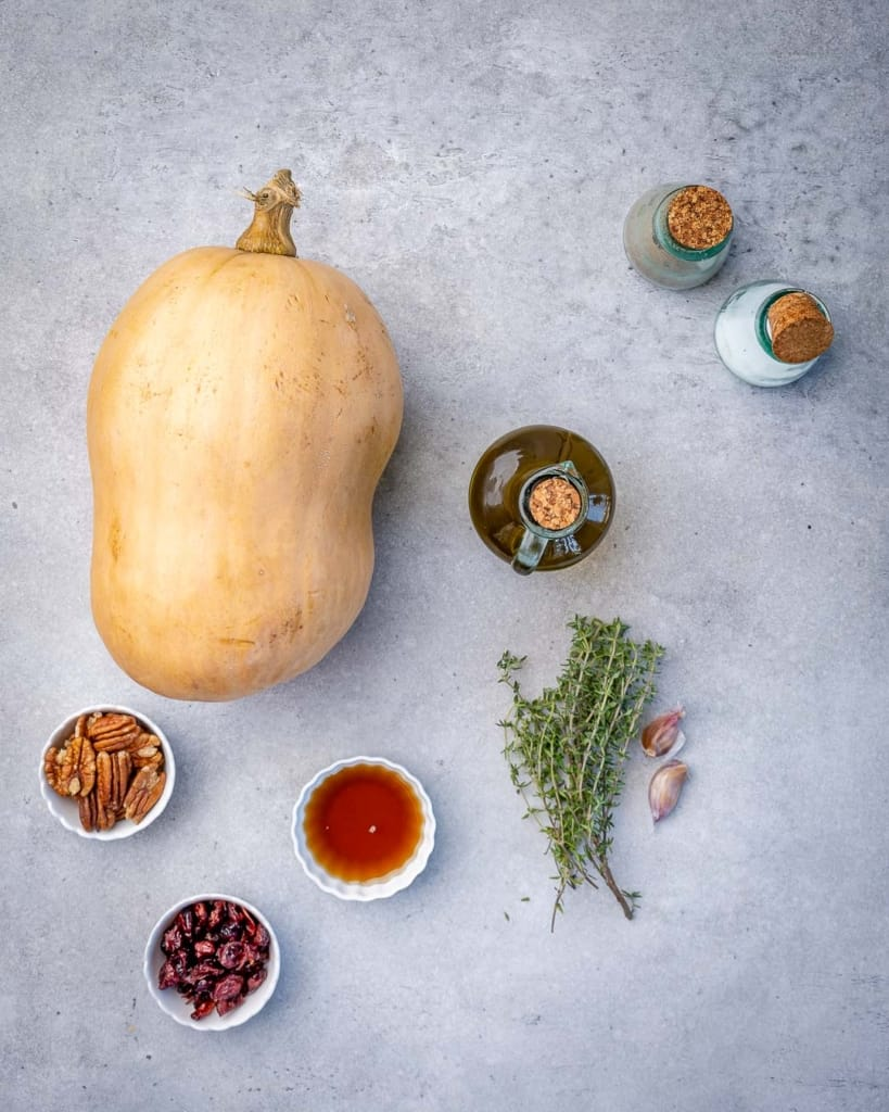 Ingredients for maple roasted butternut squash