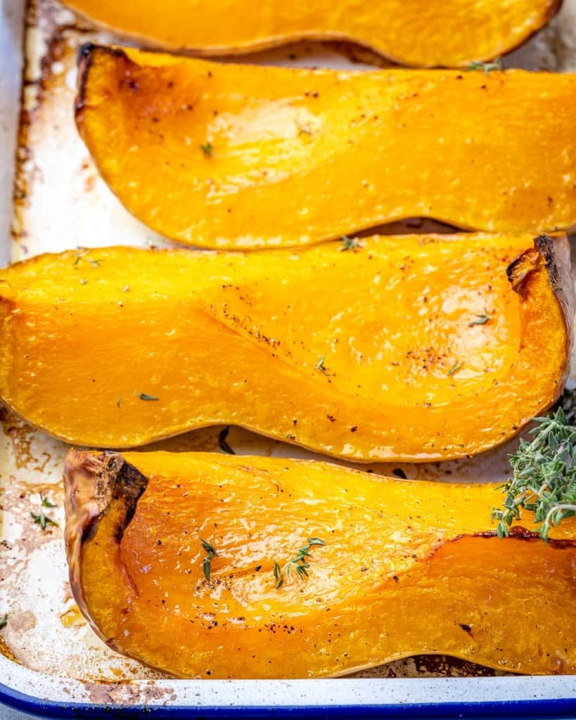 side view of roasted butternut squash slices