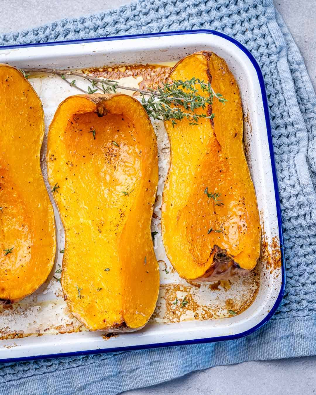 top view of roasted butternut squash slices